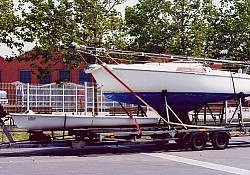 A small Fin Keel boat being transported from Perpignan, South West France to the UK.