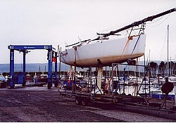 The racing Fin Keel is transported for a yacht race at Inverkip Marina on the west coast of Scotland near Glasgow.