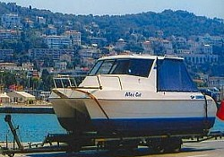 Allez Cat,a Leisure cat ,Catamaran from Australia,which was collected in London and is waiting to be craned off in Nice harbour,in the south of...