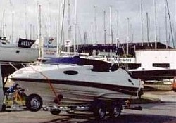 A brand new American Regal boat safely delivered to Hamble, Southampton, after being fitted to its new trailer.