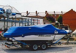 A Seadoo Loaded and ready for delivery to the south of France from Haven Quay, Lymington, Hampshire, UK